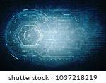 2d illustration technology...   Shutterstock . vector #1037218219