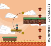 pixelated game scenery | Shutterstock .eps vector #1037221171