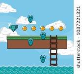 pixelated game scenery | Shutterstock .eps vector #1037221321