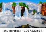 flying mountain with a... | Shutterstock . vector #1037223619