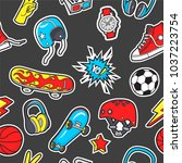 seamless pattern with patches... | Shutterstock .eps vector #1037223754