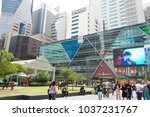 singapore raffles place and... | Shutterstock . vector #1037231767