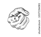 sketch of hand pointing finger | Shutterstock .eps vector #1037236081