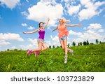 two girlfriends having fun in...   Shutterstock . vector #103723829