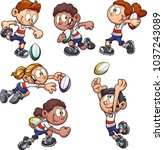 cartoon kids playing rugby....   Shutterstock .eps vector #1037243089