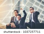 business people are happy with... | Shutterstock . vector #1037257711