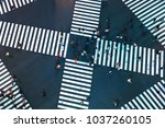 aerial view of people crossing... | Shutterstock . vector #1037260105