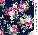 seamless vintage flower pattern ... | Shutterstock .eps vector #1037272471