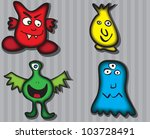 four cartoon monsters | Shutterstock .eps vector #103728491