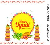 illustration of ugadi with... | Shutterstock .eps vector #1037292061