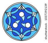 a blue mandala with white... | Shutterstock .eps vector #1037292139