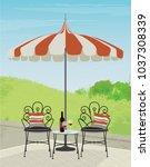 relaxing garden patio with cute ... | Shutterstock .eps vector #1037308339