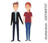 couple lovers avatars characters | Shutterstock .eps vector #1037309737
