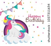 happy birthday card with... | Shutterstock .eps vector #1037311654