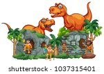 t rex and cavemen at stonehouse ... | Shutterstock .eps vector #1037315401