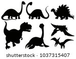 silhouette dinosaurs on white... | Shutterstock .eps vector #1037315407