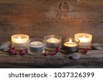 burning candles  pebble and... | Shutterstock . vector #1037326399