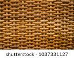 straw. woven texture. wall of... | Shutterstock . vector #1037331127