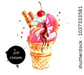 watercolor hand drawn ice cream ... | Shutterstock . vector #1037333581