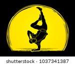 dancer  hip hop  street dance ... | Shutterstock .eps vector #1037341387
