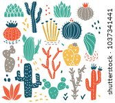 colorful succulents and cacti... | Shutterstock .eps vector #1037341441
