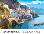 morning view of amalfi... | Shutterstock . vector #1037347711