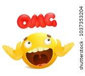 yellow emoji cartoon character. ... | Shutterstock .eps vector #1037353204