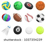 sport balls vector collection... | Shutterstock .eps vector #1037354239