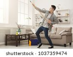 young man or happy husband... | Shutterstock . vector #1037359474