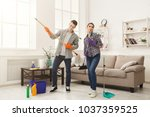 housewife and her husband... | Shutterstock . vector #1037359525