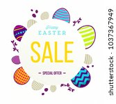 happy easter sale banner with... | Shutterstock .eps vector #1037367949
