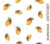 pattern set of bright mango on... | Shutterstock .eps vector #1037371807
