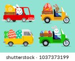 happy easter collection. cute... | Shutterstock .eps vector #1037373199