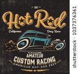 vector hot rod racing car... | Shutterstock .eps vector #1037376361