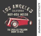 vector racing hot rod car... | Shutterstock .eps vector #1037376379