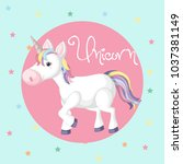 cute unicorn on blue background ... | Shutterstock .eps vector #1037381149