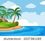 background scene of ocean at... | Shutterstock .eps vector #1037381185