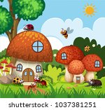many insects flying around... | Shutterstock .eps vector #1037381251
