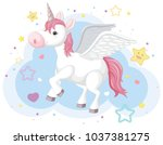 imaginary horse with horn and... | Shutterstock .eps vector #1037381275