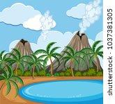 background scene with volcano... | Shutterstock .eps vector #1037381305