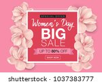 80  off woman's day big sale... | Shutterstock .eps vector #1037383777