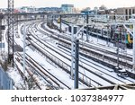 rail tracks aerial view and... | Shutterstock . vector #1037384977