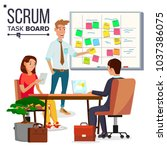 business characters scrum team... | Shutterstock .eps vector #1037386075