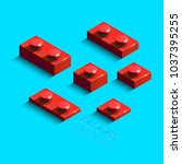 3d red constructor from lego... | Shutterstock .eps vector #1037395255