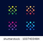 technology logo vector template ... | Shutterstock .eps vector #1037403484