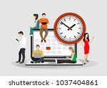 flat business people planning... | Shutterstock .eps vector #1037404861