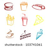 Fast Food And Snack Symbols In...