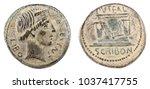 Small photo of Roman Republic Coin. Ancient Roman silver denarius of the family Scribonia.