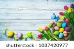 easter background. colorful... | Shutterstock . vector #1037420977