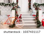 bike decorated with christmas... | Shutterstock . vector #1037431117